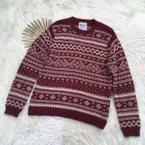 Topman Mens Red Wool Fair Isle Crewneck Sweater